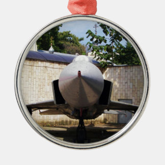 Top Gun in the suburbs. Silver-Colored Round Decoration