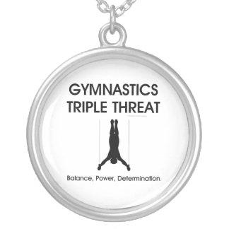 TOP Gymnastics Triple Threat Round Pendant Necklace