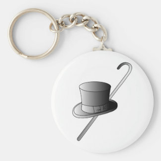 Top Hat and Cane Basic Round Button Key Ring