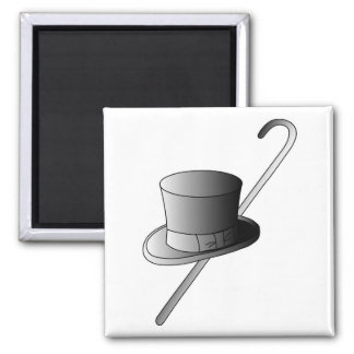 Top Hat and Cane Square Magnet