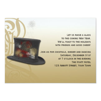 Top Hat and Fireworks New Years Eve Party 13 Cm X 18 Cm Invitation Card