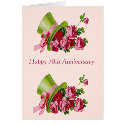 Top hat and flowers, Happy 38th Anniversary Cards