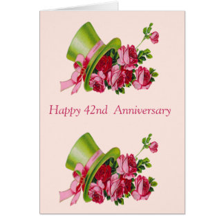Top hat and flowers, Happy 42nd  Anniversary Greeting Card