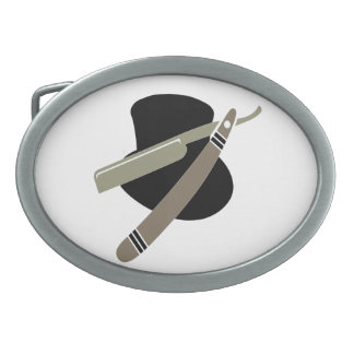 Top hat and straight razor oval belt buckles