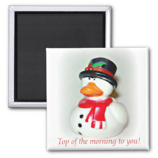 Top Hat Duck Square Magnet