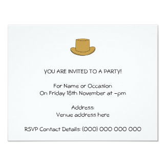 Top Hat illustration. Brown. 11 Cm X 14 Cm Invitation Card