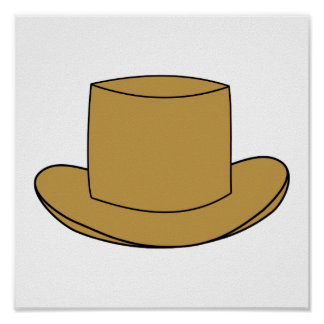 Top Hat illustration. Brown. Print