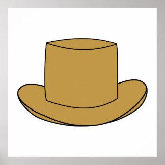 Top Hat illustration. Brown. Poster