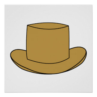 Top Hat illustration. Brown. Poster