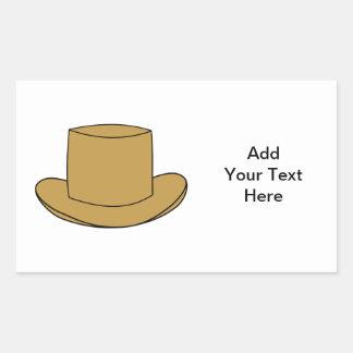 Top Hat illustration. Brown. Rectangular Sticker