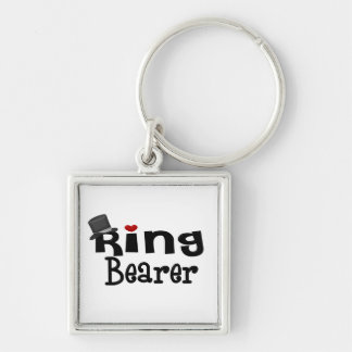 Top Hat Ring Bearer Silver-Colored Square Key Ring