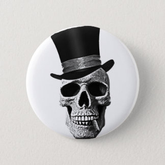 Top hat skull 6 cm round badge
