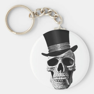 Top hat skull basic round button key ring