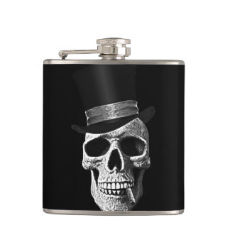 Top hat skull hip flask