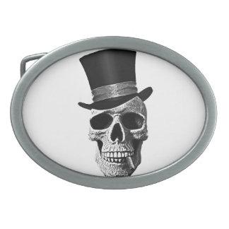Top hat skull oval belt buckle