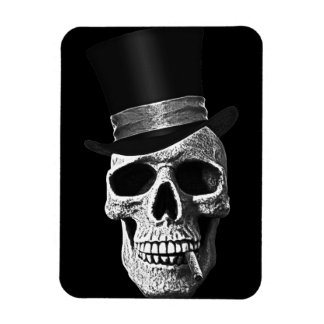 Top hat skull rectangular photo magnet