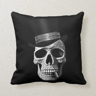 Top hat skull throw pillow