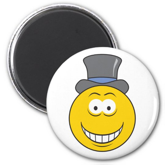 Top Hat Smiley Face 6 Cm Round Magnet