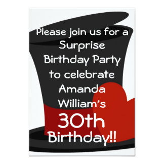 Top Hat Surprise Birthday Party Invitation