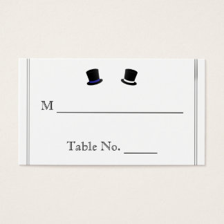 Top Hats and Bow Ties Blue Gay Wedding Place Cards