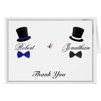 Top Hats and Bow Ties Blue Gay Wedding Thank You Card