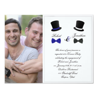 Top Hats and Bow Ties Gay Wedding Engagement 11 Cm X 14 Cm Invitation Card