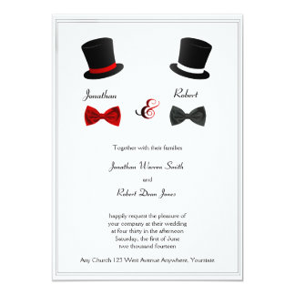 Top Hats and Bow Ties Gay Wedding Invitation