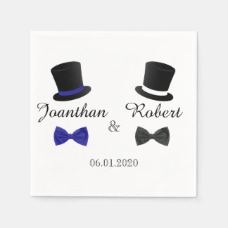 Top Hats and Bow Ties Gay Wedding Napkin Disposable Serviettes