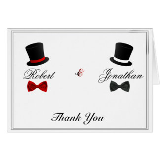 Top Hats and Bow Ties Gay Wedding Thank You Note Card