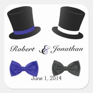 Top Hats Bow Ties Blue Gay Wedding Envelope Seal