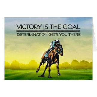 TOP Horse Race Victory Slogan Greeting Card
