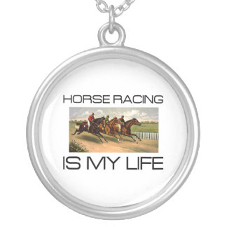 TOP Horse Racing Is My Life Silver Plated Necklace