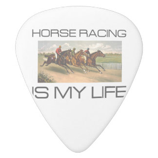 TOP Horse Racing Is My Life White Delrin Guitar Pick