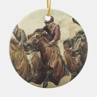 TOP Horse Racing Round Ceramic Decoration