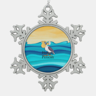 TOP Hungry Pelican Pewter Snowflake Decoration