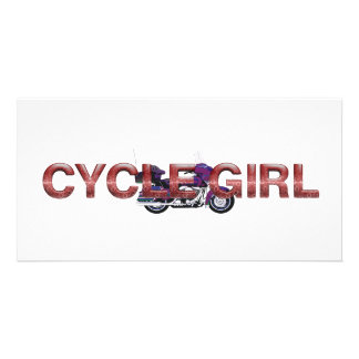 TOP Motorcycle Girl Customised Photo Card