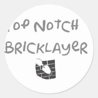 Top notch bricklayer classic round sticker