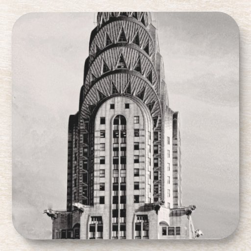 Top of the Chrysler Building NYC - B&W Beverage Coaster