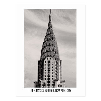 Top of the Chrysler Building NYC - B&W Postcard