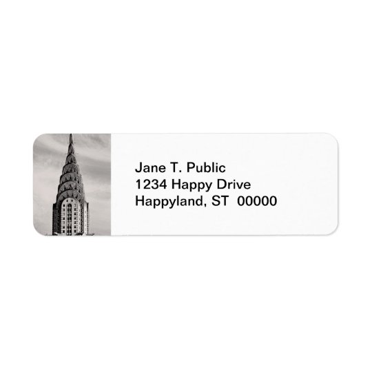 Top of the Chrysler Building NYC - B&W Return Address Label