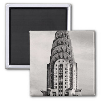 Top of the Chrysler Building NYC - B&W Square Magnet