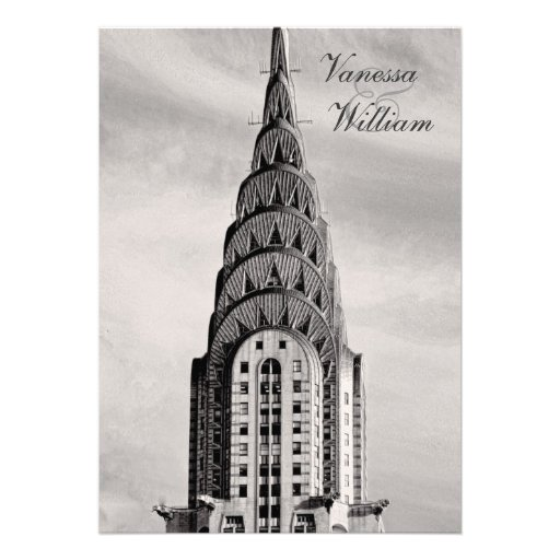 Top of the Chrysler Building NYC BW Wedding Invite