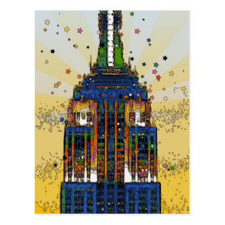 Top of the Empire State Psychedelic NYC Style Postcards