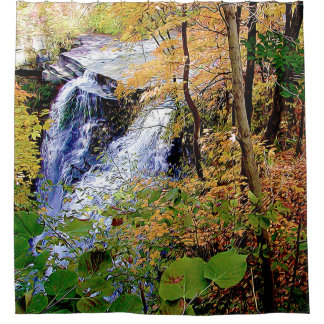 Top of the Falls in Autumn Shower Curtain