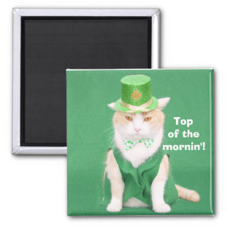 Top of the mornin'! square magnet
