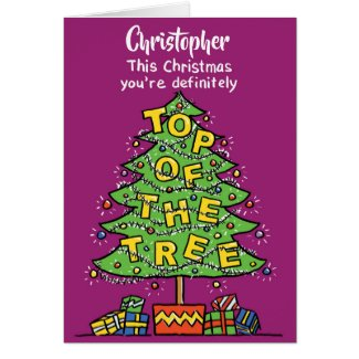 Top of the Tree. Personalised Christmas Card