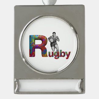 TOP Rugby Silver Plated Banner Ornament