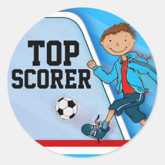 Top Scorer boys blue football soccer sticker Round Sticker