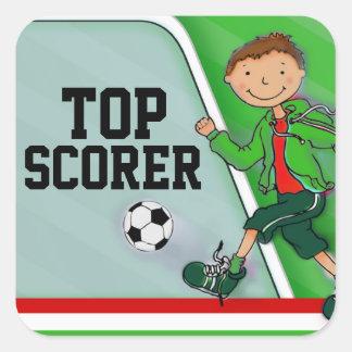 Top Scorer boys green football soccer sticker Square Sticker