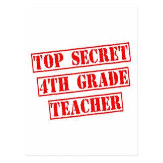 Top Secret 4th Grade Teacher Postcard